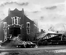 Bethel Baptist Church and parsonage following the '56 Christmas bombing.